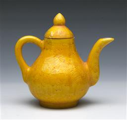 Sale 9098 - Lot 293 - Imperial Yellow Pear Form Chinese Teapot and Cover, Decorated With a Dragon and Phoenix Amongst Clouds (H14.5cm W15cm)