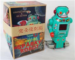Sale 9142A - Lot 5104 - Sparky Robot wind-up toy, made by Ichiko, Japan c1990s: with original key and box, h.14cm