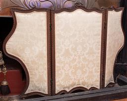 Sale 9190H - Lot 44 - An antique carved walnut 3 fold silk upholstered screen C: 1900. Height 83cm x extended Width 130cm