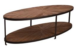 Sale 9250T - Lot 38 - An oval shaped two tiered oversized coffee table with a textured metal frame and a radial reclaimed oak parquetry design top. Height...