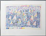 Sale 8113A - Lot 22 - Ken Done (1940 - ) - Yachts In The Harbour 54 x 81cm
