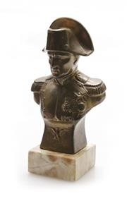 Sale 8202A - Lot 2 - An old French Napoleon Bonaparte bronzed metal bust on marble base, H 20cm
