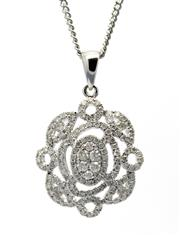 Sale 8347J - Lot 386 - AN 18CT WHITE GOLD DIAMOND PENDANT; cluster style set with round brilliant cut diamonds totalling an estimated 0.82ct.