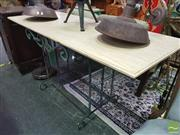 Sale 8424 - Lot 1035 - Marble Top Bar Table On Iron Base
