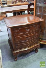 Sale 8500 - Lot 1213 - Carved Timber Bedside with Three Drawers