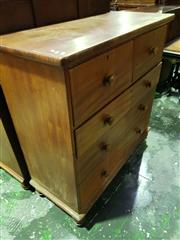 Sale 8653 - Lot 1021 - 19th Century Cedar Chest of Five Drawers, on turned feet
