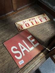 Sale 8797 - Lot 2473 - Metal 5C Pay Toilet Sign & Sale Sign (2)