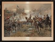 Sale 8873A - Lot 10 - A chromolithograph of Oliver Cromwell at the Storming of Basing House, early C20th
