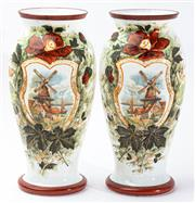 Sale 9083N - Lot 62 - A pair of milk glass vases with windmill decoration. Height 31cm