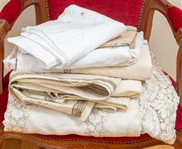 Sale 9165H - Lot 132 - A collection of hand stitched linen including pillowcases and two tablecloths together with printed tablecloths