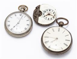 Sale 9180E - Lot 153 - A small group of pocket watch parts including sterling silver case