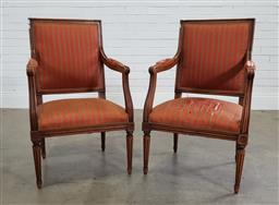 Sale 9188 - Lot 1573 - Pair of elm carvers - ripped upholstery (h92 x w55 x d44cm)
