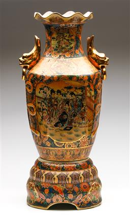 Sale 9253 - Lot 187 - A Large Satsuma Style Vase on Stand With Gilded Fish Form Handles (H:60cm)