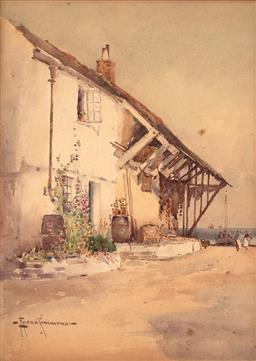 Sale 9254 - Lot 2116 - CHARLES EYRES SIMMONS (1872 - 1955) House by the Sea watercolour 35 x 25 cm (frame: 54 x 43 x 2 cm) signed lower left