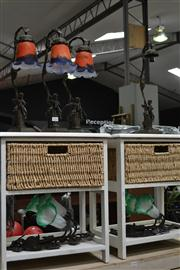 Sale 8147 - Lot 1096 - Set of 3 Brass Style Figural Base Table Lamps w Tulip Shade (1x Shade Broken) & Pair of Tulip Shade Wall Lights (5)
