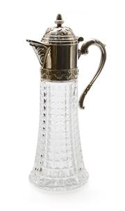 Sale 8202A - Lot 3 - An early French cut glass silver plated wine carafe decanter, H 30cm