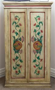 Sale 8800 - Lot 149 - An Indian painted two door timber cabinet with doors opening to reveal a shelved interior, with hibiscus and vine decoration, H 172...