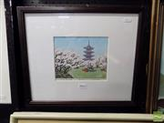Sale 8407T - Lot 2042 - S Konishi (XX) - Pagoda and Cherry Blossoms 15 x 18cm