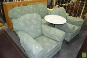 Sale 8406 - Lot 1138 - Green Upholstered Fabric Lounge setting inc 3 Seater & 2 Armchairs on bun feet