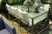 Sale 8499 - Lot 1058 - Freedom Furniture Seven Piece Dining Setting incl. Glass Top Table on Chrome Base & Six Chairs