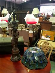 Sale 8648 - Lot 1010 - Cast Metal Figural Base Lounge Lamp with Leadlight Shade