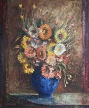 Sale 8663 - Lot 2015 - S A Hamilton - Still Life - Flowers, oil on board, 84 x 72cm, signed lower left