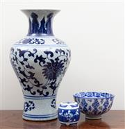 Sale 8868H - Lot 56 - A Chinese blue and white baluster vase together with a bowl and lidded pot with cherry blossom decoration, height of vase 33cm