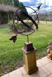 Sale 9005H - Lot 16 - An armillary sphere on a composite base. Height from top of base 95cm Width 60cm base height 60cm