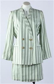 Sale 9003F - Lot 57 - A Montana Suit in pale Green/Grey Stripe comprising a blazer and knee length skirt, size 46