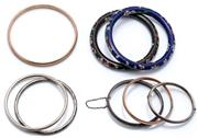 Sale 9046 - Lot 600 - SIX SILVER AND TWO CLOISONNE BANGLES; 2 vintage hollow engraved silver hinged bangles, internal diam. 44 x 49 & 53 x 59mm, 2 full ro...