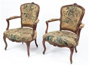 Sale 9040H - Lot 64 - A fine pair of 18th-19th century French chairs with original Aubusson tapestry upholstery