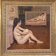 Sale 9044J - Lot 32 - Max Middleton - Double Nude Interior 76x76cm,