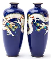 Sale 9083N - Lot 23 - A pair of exquisite cloissone vases with dragon decoration on a blue ground. Height 19cm