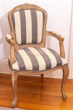 Sale 9150H - Lot 144 - French Louis style elbow chair with blue and white linen upholstery, Height of back 97cm Width 58cm