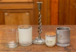 Sale 9160H - Lot 30 - An assortment of candle related items including EP candlestick, used scented candles and glass jar, tallest Height 28cm