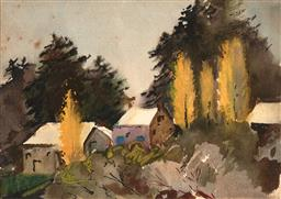 Sale 9252A - Lot 5063 - MARGARET COEN (1913 - 1993) Autumn at Berowra, NSW watercolour 12.5 x 17.5 cm (frame: 30 x 34 x 3 cm) inscribed and titled verso