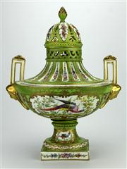 Sale 8130 - Lot 38 - French Sevres Style Double Handled Urn with Cover