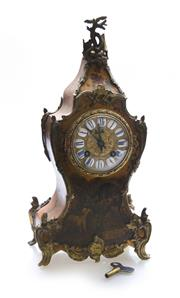 Sale 8202A - Lot 4 - An antique French hand painted Louis XV style mantle clock, with bronze mounts with key and pendulum, H 36 cm
