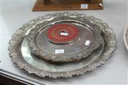 Sale 8283 - Lot 53 - English Hallmarked Sterling Silver Coast with Two Silver Plated Trays