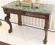 Sale 8338A - Lot 48 - A Victorian mahogany console table, with green marble top, two shaped frieze drawers and carved cabriole legs, H 89 x W 128 x D 60cm