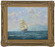 Sale 8374 - Lot 572 - John Allcot (1888 - 1973) - Untitled (Tall Ships along coastline) 48.5 x 58.5cm