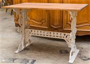 Sale 8516A - Lot 85 - A Victorian cast iron based table with recycled timber top. 68cm high x 102cm wide x 62cm deep