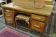 Sale 8515 - Lot 1079 - Oak Twin Pedestal Desk