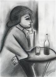 Sale 8549 - Lot 526 - Robert Dickerson (1924 - 2015) - Woman at the Cafe, 1999 36 x 26cm