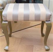 Sale 8568A - Lot 153 - A painted cabriole leg stool with striped upholstery, H 40 x L 44 x W 34cm, mark to top