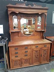 Sale 8593 - Lot 1009 - Tall Carved Oak Mirrored Back Sideboard with Four Drawers and Doors