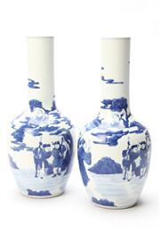 Sale 8670 - Lot 241 - Pair of Blue and White Chinese Vases ( H 30cm)