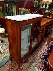 Sale 8693 - Lot 1065 - Louis XVI Style Marquetry Vitrine, with white marble top, above two bevelled glass panel doors & short cabriole legs (key in office)