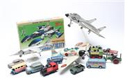 Sale 8732W - Lot 83 - Set of 3 Model Jet Planes Together with Collection of Vintage Match Box Cars and A Boxed Transformer
