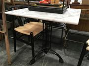 Sale 8782 - Lot 1337 - Waterproofed Square Marble Top Table on Tri-Leg Iron Base (H: 76cm W: 70cm)